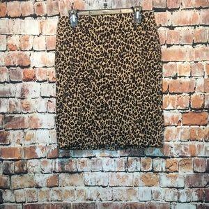 EUC 💕 Talbots Woman's Size 8P Leopard Print Skirt